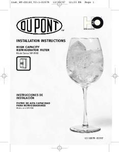 INSTALLATION INSTRUCTIONS high capacity refrigerator filter