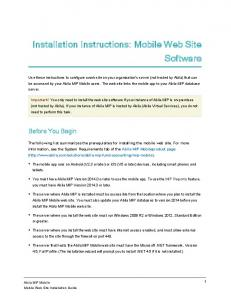 Installation Instructions: Mobile Web Site Software