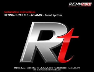 Installation Instructions RENNtech 218 CLS 63 AMG Front Splitter