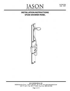 INSTALLATION INSTRUCTIONS SP200 SHOWER PANEL