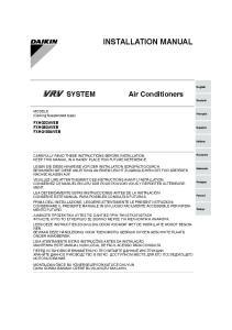 INSTALLATION MANUAL. Air Conditioners FXHQ32AVEB FXHQ63AVEB FXHQ100AVEB. MODELS (Ceiling Suspended type)