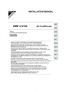 INSTALLATION MANUAL. Air Conditioners FXUQ71AVEB FXUQ100AVEB. MODELS (4-Way Blow Ceiling Suspended type)