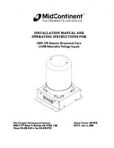 INSTALLATION MANUAL AND OPERATING INSTRUCTIONS FOR