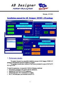 Installation manual for AB_Designer_DEMO_v10 package