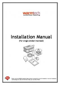 Installation Manual (For single ended inscreed)