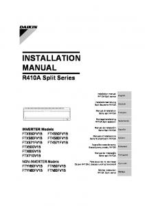 INSTALLATION MANUAL. R410A Split Series