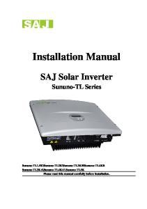 Installation Manual. SAJ Solar Inverter. Sununo-TL Series