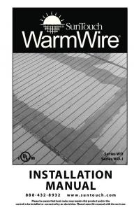 INSTALLATION MANUAL. Series WD Series WD-J