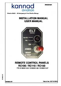 INSTALLATION MANUAL USER MANUAL