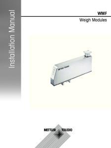Installation Manual. WMF Weigh Modules