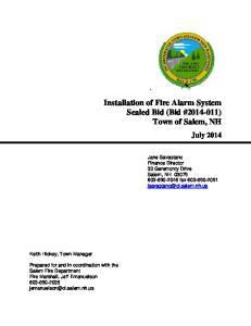 Installation of Fire Alarm System Sealed Bid (Bid # ) Town of Salem, NH