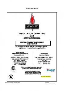 INSTALLATION, OPERATING and SERVICE MANUAL