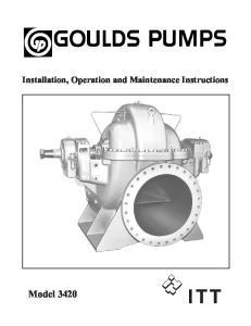 Installation, Operation and Maintenance Instructions. Model 3420