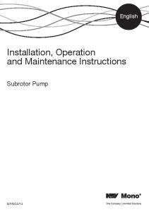 Installation, Operation and Maintenance Instructions
