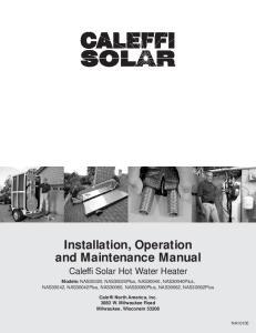 Installation, Operation and Maintenance Manual Caleffi Solar Hot Water Heater