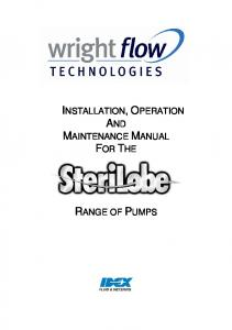 INSTALLATION, OPERATION AND MAINTENANCE MANUAL FOR THE RANGE OF PUMPS