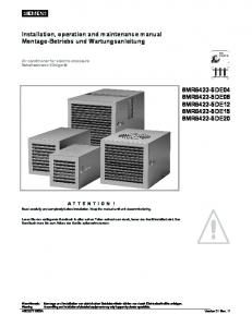 Installation, operation and maintenance manual Montage-Betriebs und Wartungsanleitung