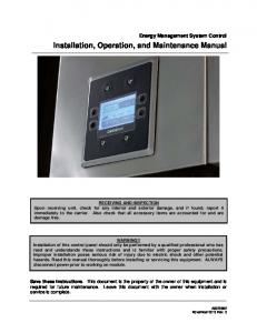 Installation, Operation, and Maintenance Manual