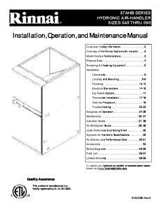 Installation, Operation, and Maintenance Manual