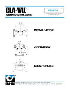 INSTALLATION OPERATION MAINTENANCE AUTOMATIC CONTROL VALVES 50B-4KG-1