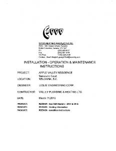 INSTALLATION - OPERATION & MAINTENANCE INSTRUCTIONS