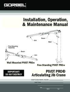 Installation, Operation, & Maintenance Manual