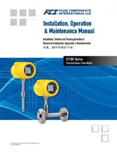 Installation, Operation & Maintenance Manual