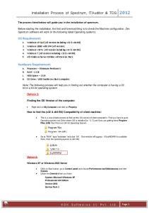 Installation Process of Spectrum, ITAuditor & TDS 2012