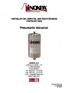 INSTALLATION, SERVICE, AND MAINTENANCE INSTRUCTIONS. Pneumatic Actuator