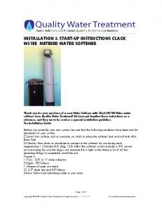 INSTALLATION & START-UP INSTRUCTIONS CLACK WS1EE METERED WATER SOFTENER