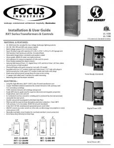 Installation & User Guide RXT Series Transformers & Controls