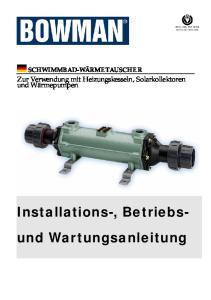 Installations-, Betriebs- und Wartungsanleitung