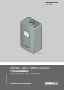 Installations-, Service- und Wartungsanleitung Frischwasserstation