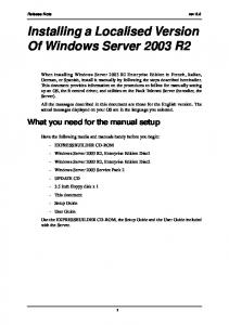 Installing a Localised Version Of Windows Server 2003 R2
