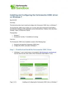 Installing and Configuring the Hortonworks ODBC driver on Windows 7