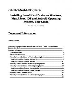 Installing Luxoft Certificates on Windows, Mac, Linux, ios and Android Operating Systems. User Guide