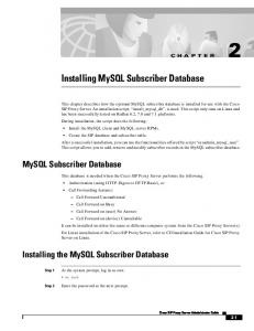 Installing MySQL Subscriber Database