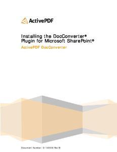 Installing the DocConverter Plugin for Microsoft SharePoint