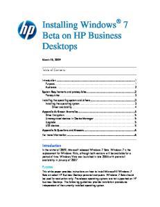 Installing Windows 7 Beta on HP Business Desktops