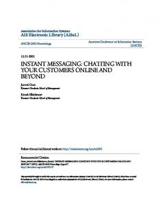 INSTANT MESSAGING: CHATTING WITH YOUR CUSTOMERS ONLINE AND BEYOND