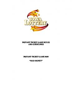 INSTANT TICKET GAME RULES AND GUIDELINES