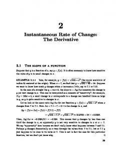 Instantaneous Rate of Change: The Derivative