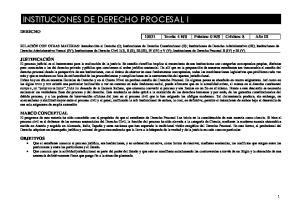INSTITUCIONES DE DERECHO PROCESAL I