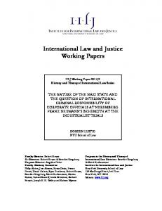 Institute for International Law and Justice. Working Papers