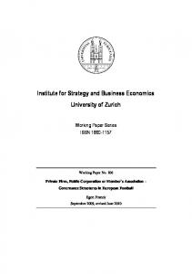 Institute for Strategy and Business Economics University of Zurich