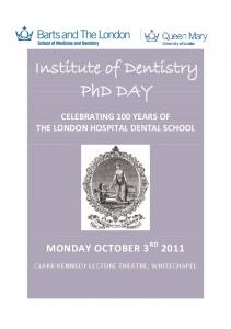 Institute of Dentistry PhD DAY