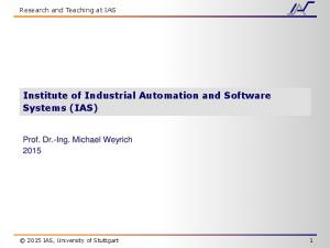 Institute of Industrial Automation and Software Systems (IAS)
