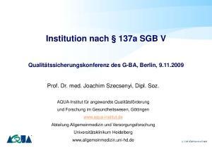 Institution nach 137a SGB V