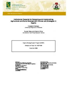 Institutional Capacity for Designing and Implementing Agricultural and Rural Development Policies and Strategies in Nigeria