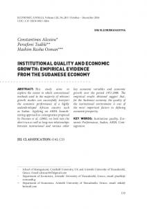 INSTITUTIONAL QUALITY AND ECONOMIC GROWTH: EMPIRICAL EVIDENCE FROM THE SUDANESE ECONOMY